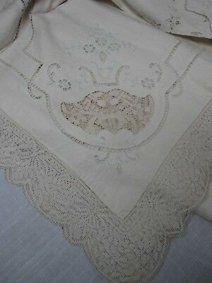 """ANTIQUE WHITE LINEN & LACE TABLECLOTH 70"""" X 90"""" with 12 MATCHING NAPKINS 17"""""""