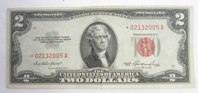 1953 $2 Two Dollar Federal Reserve Note Bill Red Seal United Sates USA