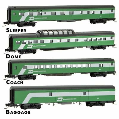 Z Scale MICRO-TRAINS 994 01 170 BURLINGTON NORTHERN passenger 4-Car Runner Pack