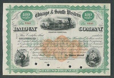 Unissued  Chicago & South Western Railway Stock Certificate