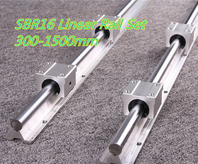 2X Linear Rail SBR16 300-1500mm Linear Rail & 4X SBR16UU Block Bearing