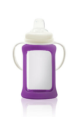 Cherub Baby Glass Sippy Cup & Silicone Shock Proof Sleeve Wide Neck 240ml PURPLE