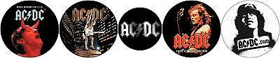 """Lot of 5 Different AC/DC  1-1/2"""" & 1"""" Buttons"""
