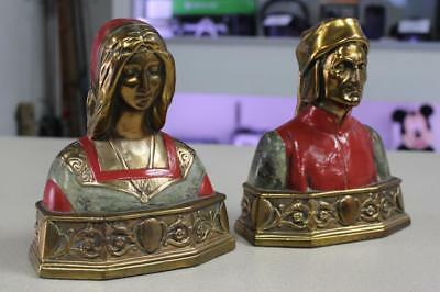 """1930's Antique Patinated Pompeian Bronze Bookends Of Dante & Beatrice 7"""" #138"""
