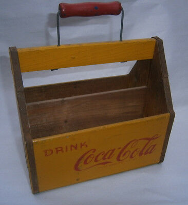 antique Coca Cola yellow 6 Pack Wooden Bottle Carrier 1940's WAR WINGS