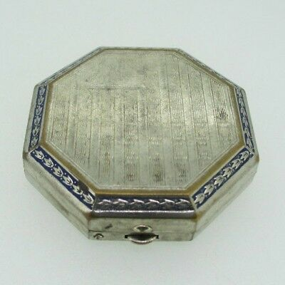 Vintage Blue Art Deco and Silver Tone Make Up Mirror and Compact Case