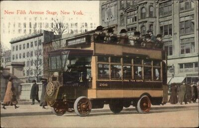 New York City Fifth Ave Stage Double-Decker Bus c1915 Postcard
