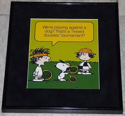 Peanuts Snoopy Framed Vintage Poster Print Charles Schulz Tennis