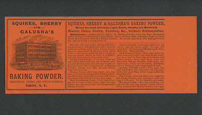 Troy NY: 1870s? SQUIRES, SHERRY & GALUSHA'S BAKING POWDER Unused Can Label
