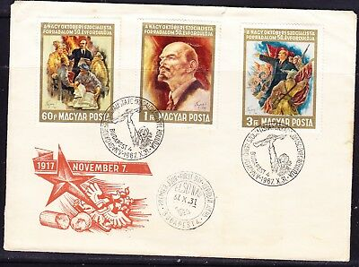 Hungary 1967 October Revolution First Day Cover to Australia + back #2