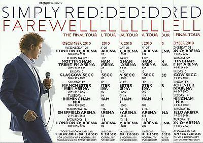 Simply Red - Farewell the final Tour -  2010 Tour FLYERS x 6