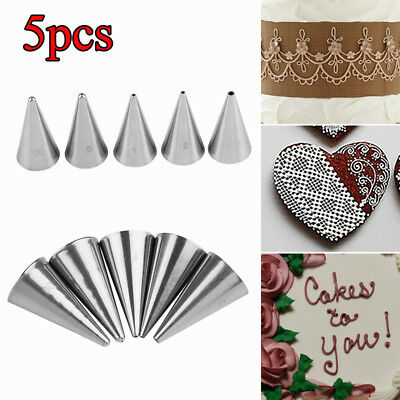 5Pcs/set Writing Cream Piping Nozzles Stainless Steel Pastry Tips Icing Nozzle