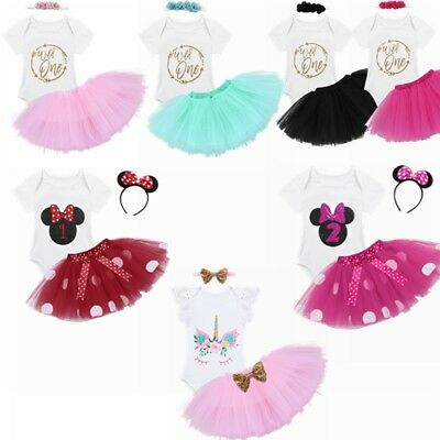 Baby Girls 1st Birthday Dress Rompers Tutu Skirt Headband Outfit Clothes Set