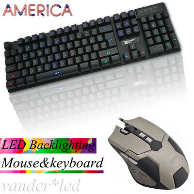 Pro E-sports USB Wired LED Gaming Mouse And Backlight Keyboard Bundles Set