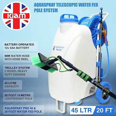 20ft Telescopic Water Fed Pole & 45L Spray Tank Window Cleaning Trolley System