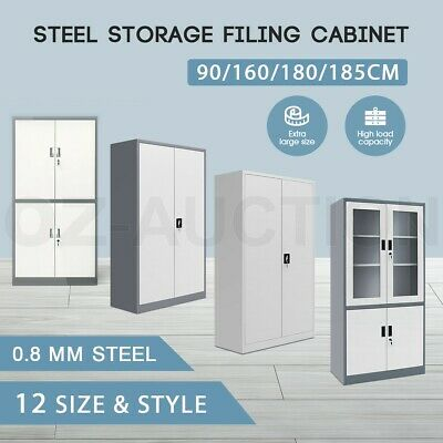 Metal Filing Cabinet Office Shelves Stationary Steel Storage Lockable Cupboard