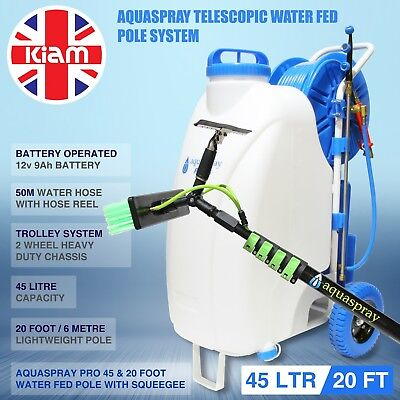 20ft Window Cleaning Telescopic Water Fed Pole Squeegee 45L Spray Tank Trolley