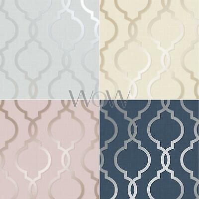 Holden Laticia Geometric Trellis Wallpaper Glitter Metallic Silver Rose Gold