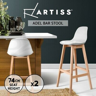 【20%OFF】2x Kitchen Bar Stools Wooden Bar Stool Chairs Barstools Leather White