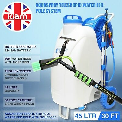 30ft Telescopic Water Fed Pole Squeegee & 45L Spray Tank Window Cleaning Trolley