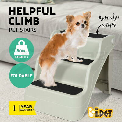 i.Pet Pet Dog 3 Steps Stairs Portable Folding Non-slip Cat Ladder Ramp Washable