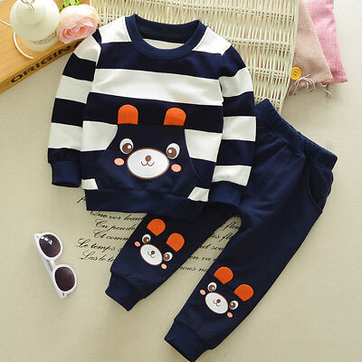 2PCS Toddler Kids Baby Boy Cartoon Clothes Hooded Shirt Tops + Pants Outfits Set