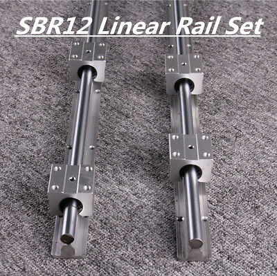 2X SBR12 Linear Rail L300-1500mm Shaft Guide Rod + 4X SBR12UU Block Bearing