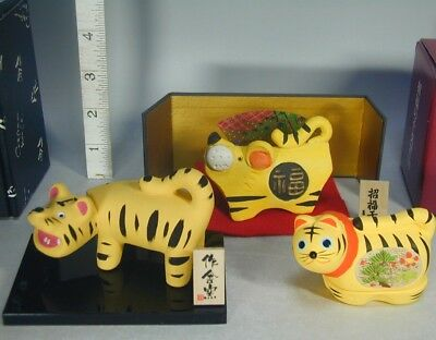 Tiger Dolls #921 Japanese Clay Pottery Figurine, Ceramic KOGO Incense Container