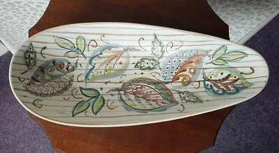 Denby hand painted Plate Bourne Leaf Pattern Stoneware Glyn Colledge Signed