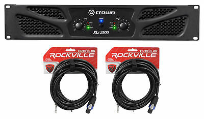 "Crown Pro Audio XLi2500 1500w 2 Channel DJ/PA Amplifier+2 Speakon to 1/4"" Cables"