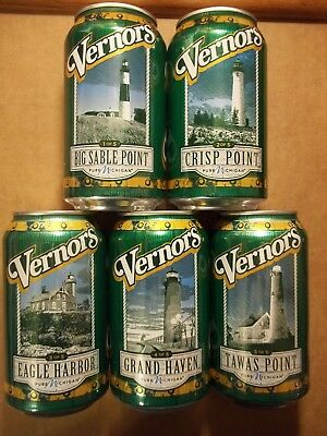 Set of 5 FULL VERNORS Michigan Lighthouse Collection Soda Pop Cans FREE SHIPPING