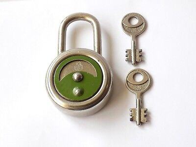 Vintage German Padlock With Two Unusual Double Ended Key. Pivot Lock Cover.