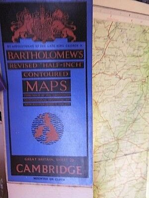 Cambridge-Fens-Lowest Land In England-Vintage Map Bartholomew Topographic Colour