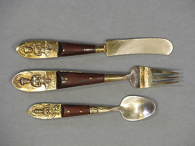 Vintage Siam Brass Buddha Set Of 3 Teak Wood Spoon, Fork, Knife Hindu Thailand