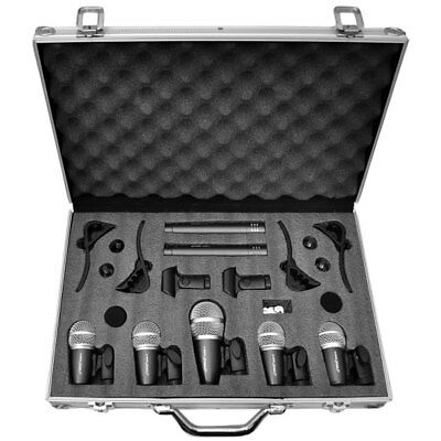 Pyle Pro Professional Band Drum Kit Microphones Mic Set 7 Peice With Flight Case