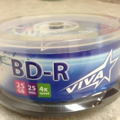 25-pack Vivastar branded Blu-Ray 4x BD-R 25GB 135MIN Blu Ray Blank Media Disc