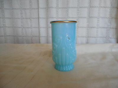 Avon blue frosted glass vase