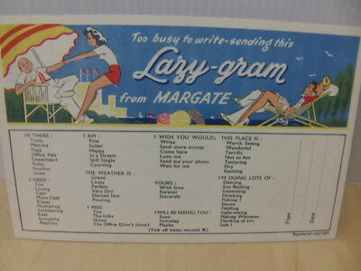 Lazy-Gram from Margate novelty Postcard pub by Butlin's Photographic c 1960