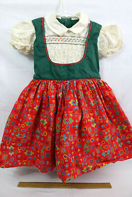Vintage Authentic Girls Bavarian Trachten Dirndl Style Dress Costume Childs