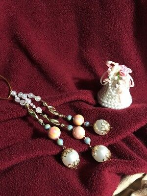 "Lot -2 Victorian Christmas Ornaments 3""  Pearl Bell / 3 Strand Dangle beads 7"""