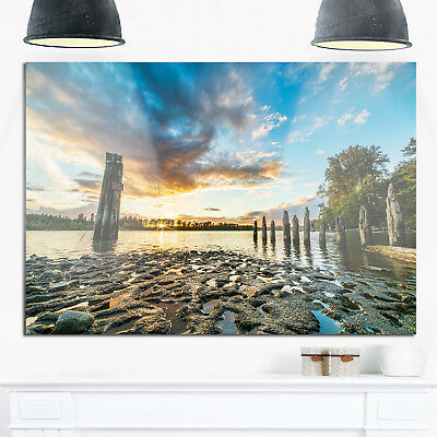 Riverside Sunset with Wood - Modern Seascape Glossy Metal Blue