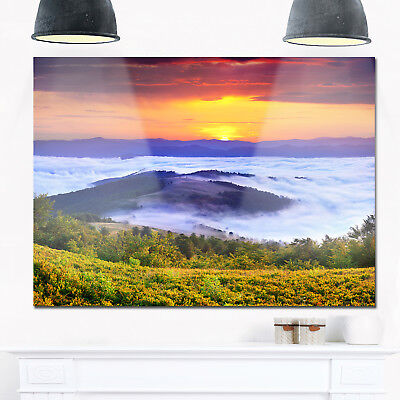 Yellow Sunrise over Blue Waters - Landscape Photo Glossy Blue
