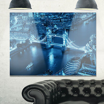 Blue London Night Aerial View - Cityscape Glossy Metal Wall Art
