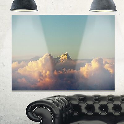 Orange Clouds Colorful Sunset in Sky - Extra Large Glossy Metal Wall Art