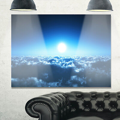 Night Flight above Clouds - Extra Large Glossy Metal Wall Blue