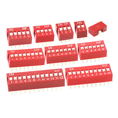 1/2/3/4/5/6/7/8/10/12 Way ON/OFF DIP DIL Switch PCB Toggle Snap Switches Red