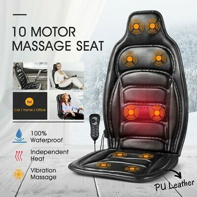 10 Motors Vibration Massage Chair Pad Seat Cushion w/ Heat for Home Office Car