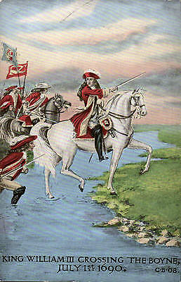 Political Irish. King William III Crossing the Boyne. Card by Valentine's.