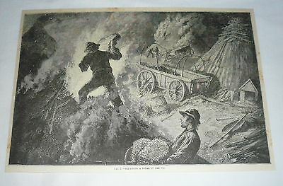 1877 magazine engraving ~ COAL MINERS REPAIRING BREAK IN THE PIT