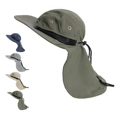 Boonie Fishing Boating Hiking Snap Hat Brim Ear Neck Cover Sun Flap Cap Hot